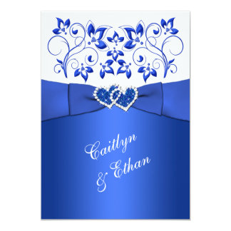 Monogram Cobalt Blue White Floral Wedding Invite