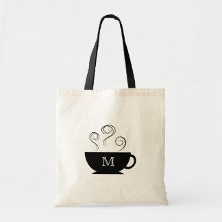 Monogram Coffee Cup Steam Swirls Tote Bag