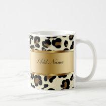Monogram Coffee Mugs Leopard
