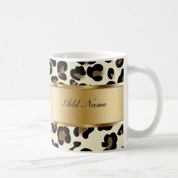 Coffee Themed Monogram Coffee Mugs Leopard
