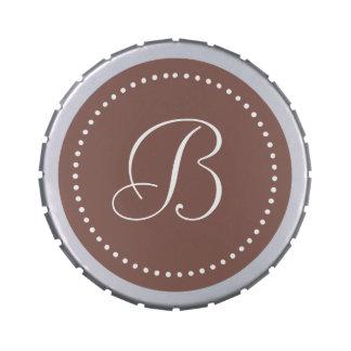 Monogram Cognac Brown/White Dot Border Jelly Belly Tin