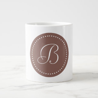 Monogram Cognac Brown/White Dot Border Large Coffee Mug