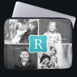 "Monogram Collage Custom Laptop Sleeve Turquoise<br><div class=""desc"">Photo gifts make the best gifts! Easily personalized with your text and/or photo(s) for a custom look. Designed by Berry Berry Sweet. View more designs at www.berryberrysweet.com</div>"