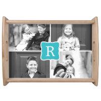 Monogram Collage Photo Serving Tray - Turquoise