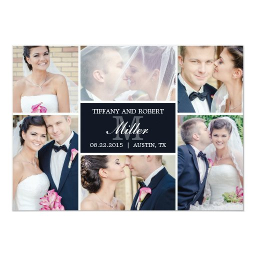 Monogram Collage Wedding Announcement - Black