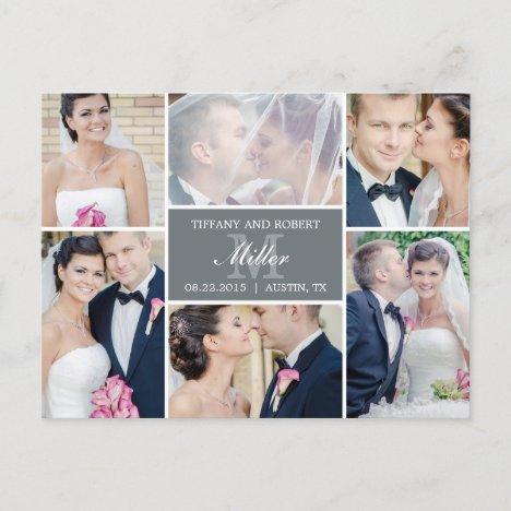 Monogram Collage Wedding Announcement - Gray