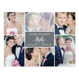 Monogram Collage Wedding Announcement - Gray Postcard