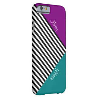 Monogram Color Block Purple Teal & Black Stripes Barely There iPhone 6 Case