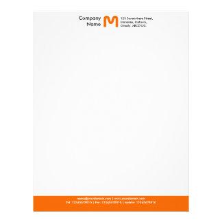 Monogram Color Footer - Orange Letterhead