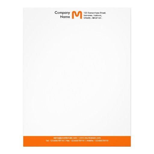 Monogram Color Footer - Orange Letterhead Template