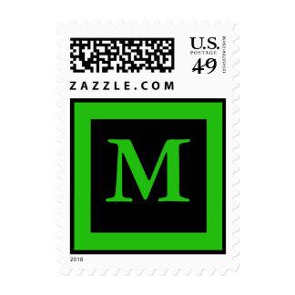 monogram color green postage stamp
