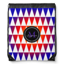 Monogram Colorful Abstract Triangles Pattern Drawstring Bag