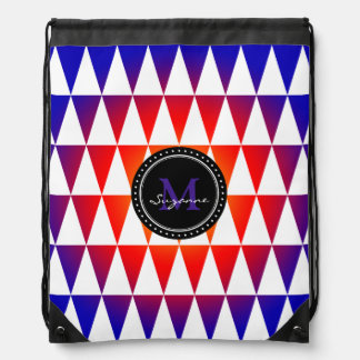 Monogram Colorful Abstract Triangles Pattern Cinch Bag