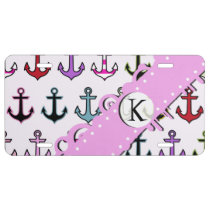 Monogram - Colorful Anchors (Boat Anchors) - Blue License Plate
