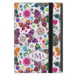 Monogram Colorful Butterflies & Flowers Pattern iPad Mini Cover
