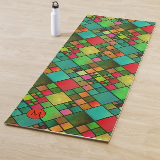 Monogram Colorful Checkered Pattern Yoga Mat