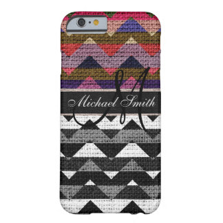 Monogram Colorful Chevron Zigzag Burlap Jute #11 Barely There iPhone 6 Case