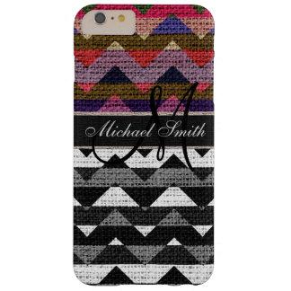 Monogram Colorful Chevron Zigzag Burlap Jute #11 Barely There iPhone 6 Plus Case