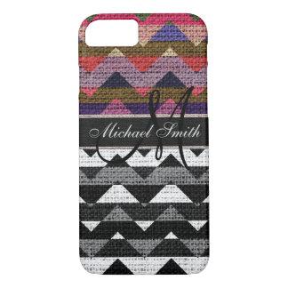 Monogram Colorful Chevron Zigzag Burlap Jute #11 iPhone 8/7 Case
