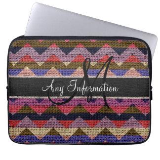 Monogram Colorful Chevron Zigzag Burlap Jute #12 Laptop Sleeve
