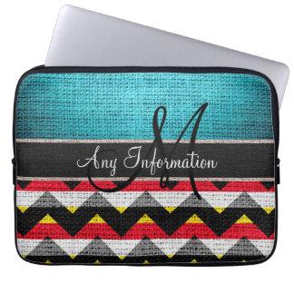 Monogram Colorful Chevron Zigzag Burlap Jute Laptop Sleeve