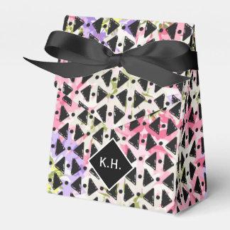 Monogram colorful criss cross weave pink black favor box