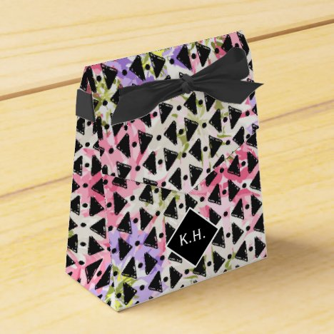 Monogram colorful criss cross weave pink black favor box