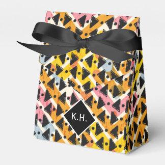 Monogram colorful criss cross weave yellow black favor box