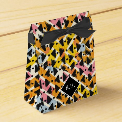 Monogram colorful criss cross weave yellow black favor box