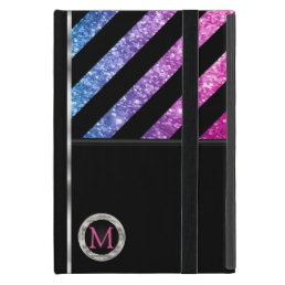 Monogram - Colorful Faux Glitter & Black Stripes Cover For iPad Mini