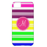 Monogram Colorful Neon Rainbow Stripes Pattern iPhone 5C Cover