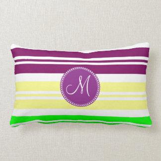 Monogram Colorful Neon Rainbow Stripes Pattern Lumbar Pillow
