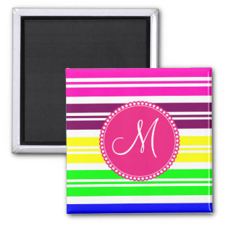 Monogram Colorful Neon Rainbow Stripes Pattern Magnet