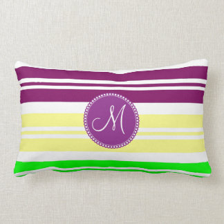 Monogram Colorful Neon Rainbow Stripes Pattern Pillow