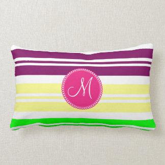 Monogram Colorful Neon Rainbow Stripes Pattern Pillow