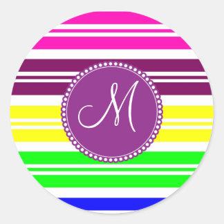 Monogram Colorful Neon Rainbow Stripes Pattern Classic Round Sticker