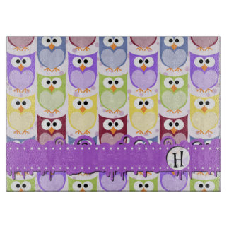 Monogram - Colorful Owls - Green Blue Purple Cutting Boards