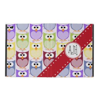 Monogram - Colorful Owls - Green Blue Purple iPad Folio Case