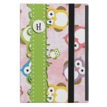 Monogram - Colorful Owls - Green Blue Purple iPad Mini Cases