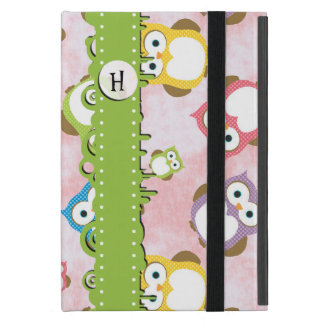 Monogram - Colorful Owls - Green Blue Purple iPad Mini Cover