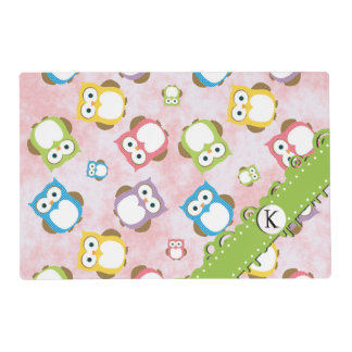 Monogram - Colorful Owls - Green Blue Purple Laminated Placemat