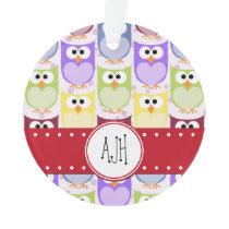 Monogram - Colorful Owls - Green Blue Purple Ornament