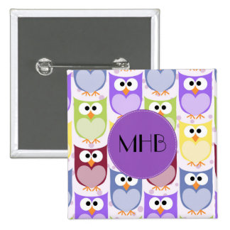 Monogram - Colorful Owls - Green Blue Purple Pinback Button