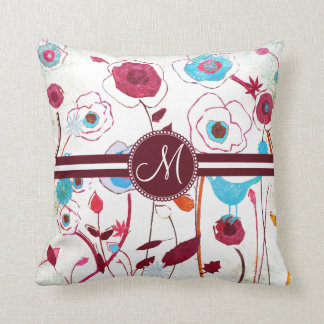 Monogram Colorful Spring Flowers Birds Mulberry Throw Pillow