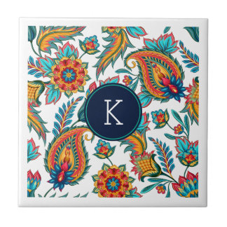 Monogram Colorful Vintage Floral Paisley Tile
