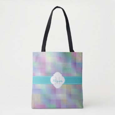 Beach Themed Monogram colour pattern tote bag