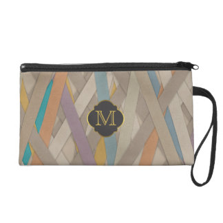 Monogram Colourful leather strapped Wristlet Purse