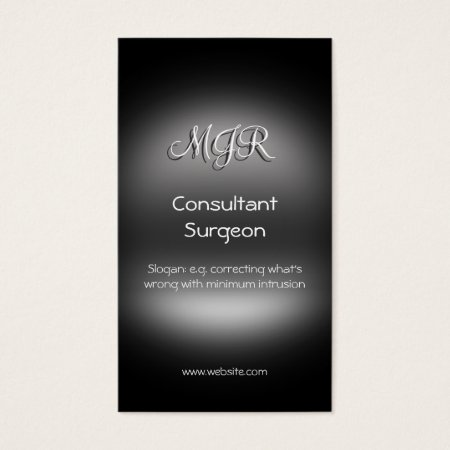 Monogram, Consultant Surgeon, metal-look Business Card