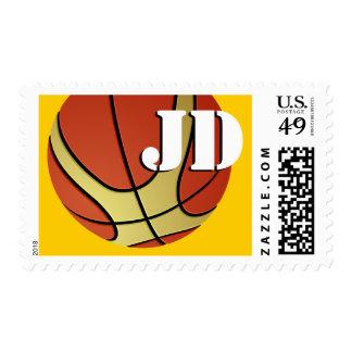 Monogram Cool Basketball Postage Stamp