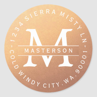 Monogram Copper Circular Return Address Label